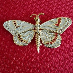 Butterfly Brooch Silver Gold Articulated
